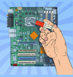 Pop art male hand computer engineer repairing cpu vector