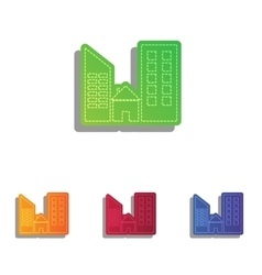 Real estate sign Colorfull applique icons set vector image