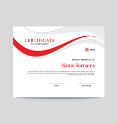 Red and grey waves certificate vector