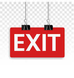 Red exit sign flat colors icon for app or website vector