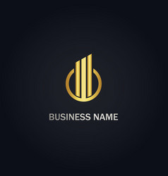 round business line graph gold logo vector image