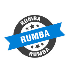 Rumba sign rumba round ribbon sticker rumba tag vector