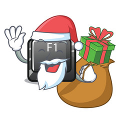 santa with gift cartoon f1 button installed on vector image
