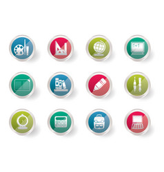 School and education icons over colored background vector