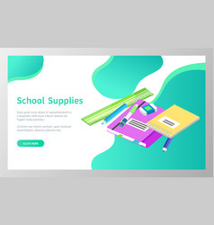 School supplies books and pencils for lessons vector