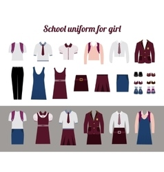 School uniform for girls flat vector image