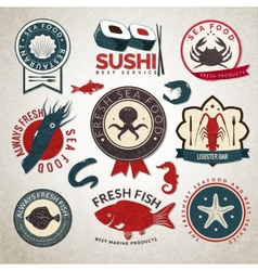 Seafood labels set vector image
