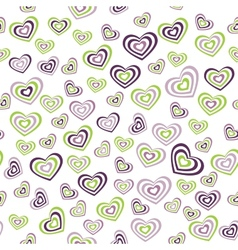 Seamless pattern heart green purple on white vector image