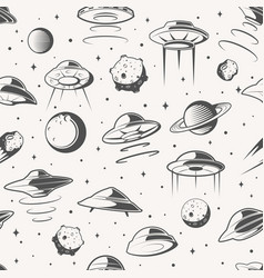 Seamless pattern space ufo and planet background vector