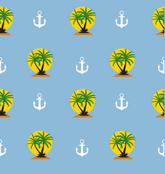 Seamless pattern with anchor and coconut palm tree vector