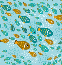 Seamless pattern with fish on a blue water vector image