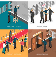 Security service 4 isometric icons square vector