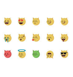 Set of cat emoticon vector