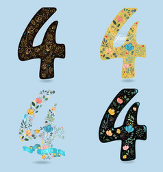 Set of numbers four with floral decor vector