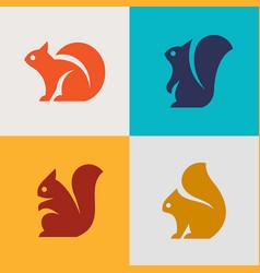 Set squirrel logo vector