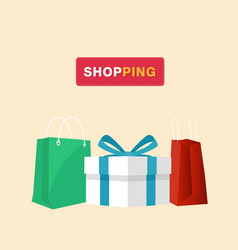 shopping gift box shopping bag background i vector image