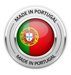 Silver medal Made in Portugal with flag vector image