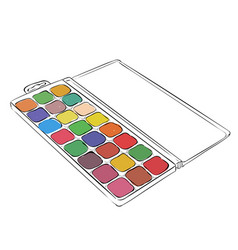 sketch of watercolor paints in a box vector image