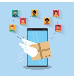Smartphone and delivery design vector image