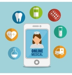 smartphone medicine online application icons vector image
