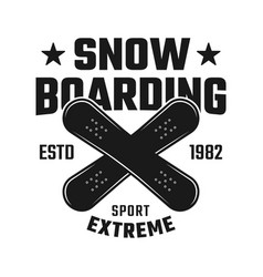 snowboarding emblem with two crossed boards vector image