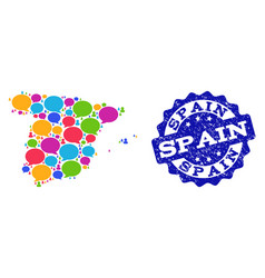 Social network map of spain with speech clouds and vector