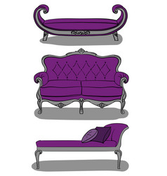 sofas in italian style in purple and gray shades vector image