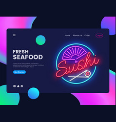 Sushi banner design template seafood web vector