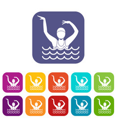 swimmer in a swimming pool icons set vector image