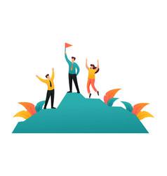Team entrepreneurs celebrates victory on top vector