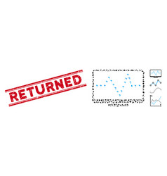 textured returned line seal and mosaic monitor vector image