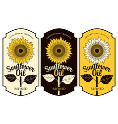 Three labels for sunflower oil with a big flower vector