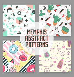 Trendy geometric elements seamless patterns set vector