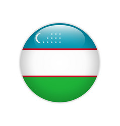 Uzbekistan flag on button vector