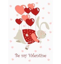 Valentine rabbit flying on heart shaped baloons vector image