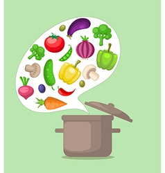 Vegetables and pan vector image