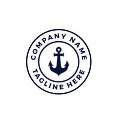 vintage retro anchor emblem logo design vector image