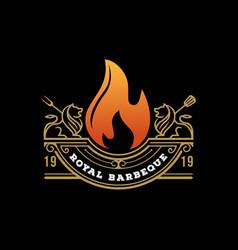 Vintage retro rustic royal bbq grill barbecue ba vector