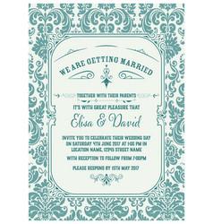 vintage wedding invitation save date vector image