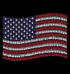 waving united states flag stylization of vial vector image