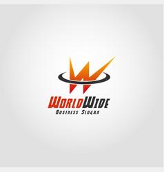 world wide - stylish letter w logo vector image