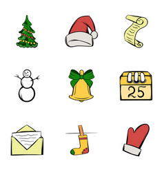 december icons set cartoon style vector image