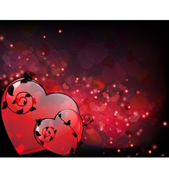 Hearts with floral elements vector image vector image