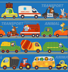 seamless pattern transports with animals on road vector image vector image