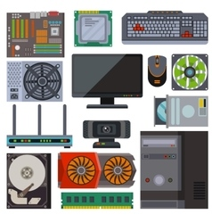 Set of various electronics devices computer parts vector image vector image