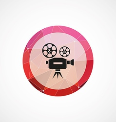video circle pink triangle background icon vector image