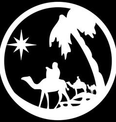 Adoration of the Magi silhouette icon white black vector image vector image