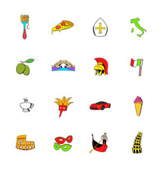 italy set icons set cartoon vector image