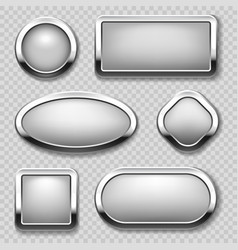 round chrome button collection on transparent vector image vector image