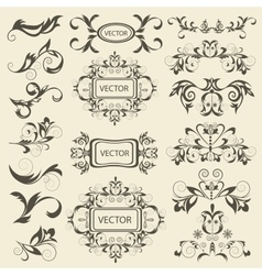 Set monograms floral ornaments vector image vector image